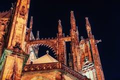 Prague. St. Vitus cathedral. Night time. Stock Photos
