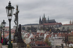 Prague and St. Vitus Cathedral. View from the Charles Bridge Royalty Free Stock Photos