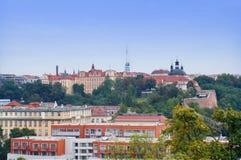 Prague stadssikt från Vysehrad Arkivbild