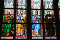 Prague stained glass window. St. Vitus Cathedral stained glass window Stock Images
