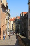 Prague - stairway at Prague castle. Stairway leading to the Old Town from Prague castle Stock Photo