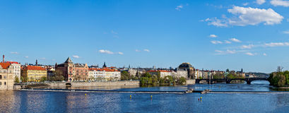 Prague Stare Mesto embankment panorama from Charles bridge. Panorama of Prague Stare Mesto embankment and Vltava river view from Charles bridge. Prague, Czech stock photos