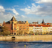 Prague Stare Mesto embankment view from Charles bridge. On sunset. Prague, Czech Republic stock images