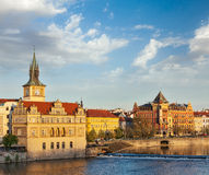 Prague Stare Mesto embankment view from Charles bridge Royalty Free Stock Photography