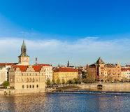 Prague Stare Mesto embankment view from Charles bridge Royalty Free Stock Images