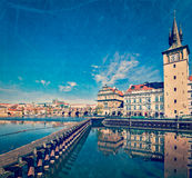 Prague Stare Mesto embankment view from Charles bridge Royalty Free Stock Image
