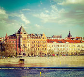 Prague Stare Mesto embankment view from Charles bridge Stock Photography