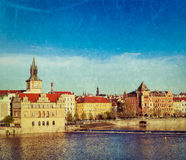 Prague Stare Mesto embankment view from Charles bridge Stock Photo