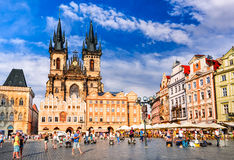 Prague, Stare Mesto square, Czech Republic. PRAGUE, CZECH REPUBLIC - 6 AUGUST 2016: Tourists in Stare Mesto (Old Town) district of Prague, medieval capital city stock photos