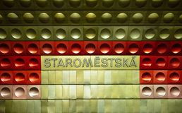 Prague, Staromestska metro station, metal sign. Station Staromestska of Prague metro. Metal sign with the station name stock photos
