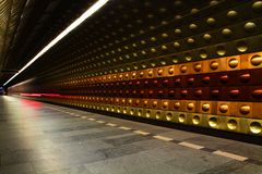 Prague station (subway in the motion) Stock Photography