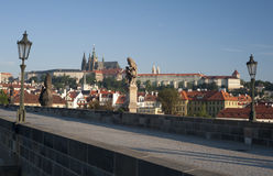Prague- Statue on Charles Bridge Royalty Free Stock Photography
