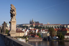 Prague- Statue on Charles Bridge Stock Image