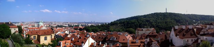 Prague stitched panorama. View from prague castle Royalty Free Stock Photography