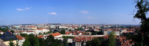 Prague stitched panorama. Overlooking the capital city of Czech Republic Stock Photo