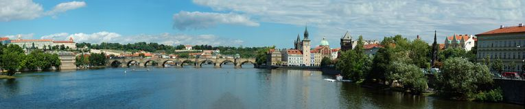 Prague stone bridge over Vltava river Stock Images