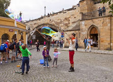Prague, street art with soap bubbles Royalty Free Stock Images