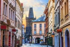 Prague street Celetna, part of the Royal Route close to the Powder Gate, Czech Republic stock image