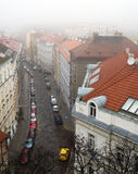 Prague street in the fog Royalty Free Stock Photo