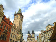 Prague street full of people and tourists Stock Photo