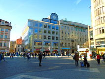 Prague street full of people and tourists Royalty Free Stock Images