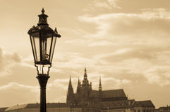 Prague street lamp Royalty Free Stock Photo