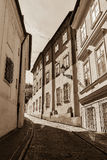 Prague street with medieval houses Stock Photo