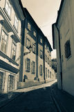 Prague street with medieval houses Stock Images