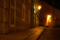Prague street at night. Mysterious scene in old prague city Stock Image