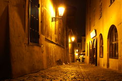 Prague street at night. Mysterious scene in old prague city Royalty Free Stock Photo