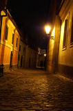 Prague street at night. Mysterious scene in old prague city Royalty Free Stock Images