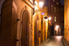 Prague street at night Royalty Free Stock Images