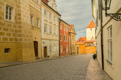 Prague street in sunset Royalty Free Stock Images