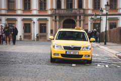 Prague street Taxi. Royalty Free Stock Image