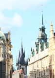 Prague street and towers royalty free stock photography