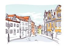 Prague street vector sketch illustrator watercolor art vector illustration