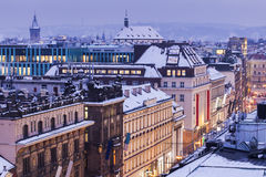 Prague streets - aerial view Royalty Free Stock Photo