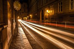 Prague streets by night, Czech Republic Royalty Free Stock Image