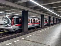 Prague subway train Royalty Free Stock Photos
