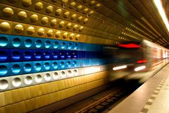 Prague subway. Underground Prague subway .Speed transportation Royalty Free Stock Photography