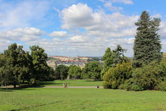 Prague in summer, Czech Republic. Riegerovy sady park with the historic part of the city in the backround stock photo