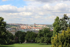 Prague in summer, Czech Republic. The view on the historic part of the city from Riegerovy sady park stock images