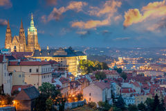 Prague at sundown time and Famous Saint Vitus' Cathedral Royalty Free Stock Photo