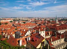 Prague. Top view of the red roofs of houses, St. Vitus Cathedral royalty free stock images