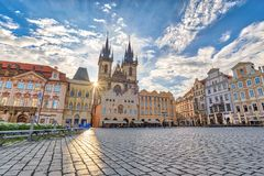 Prague old town square. Prague sunrise city skyline at Prague old town square, Prague, Czechia Royalty Free Stock Photo