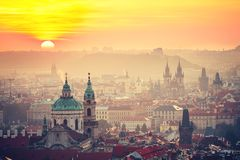Prague at the sunrise Royalty Free Stock Photography