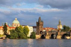 Prague at sunset Stock Photo