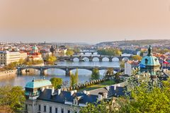 Prague at sunset Stock Photography