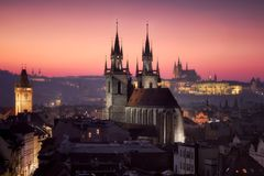 Prague at sunset stock image