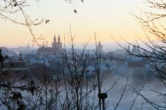 Prague. Czech Republic. Prague sunset in the fog Royalty Free Stock Photography